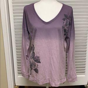 Maurices V neck purple ombré tee shirt